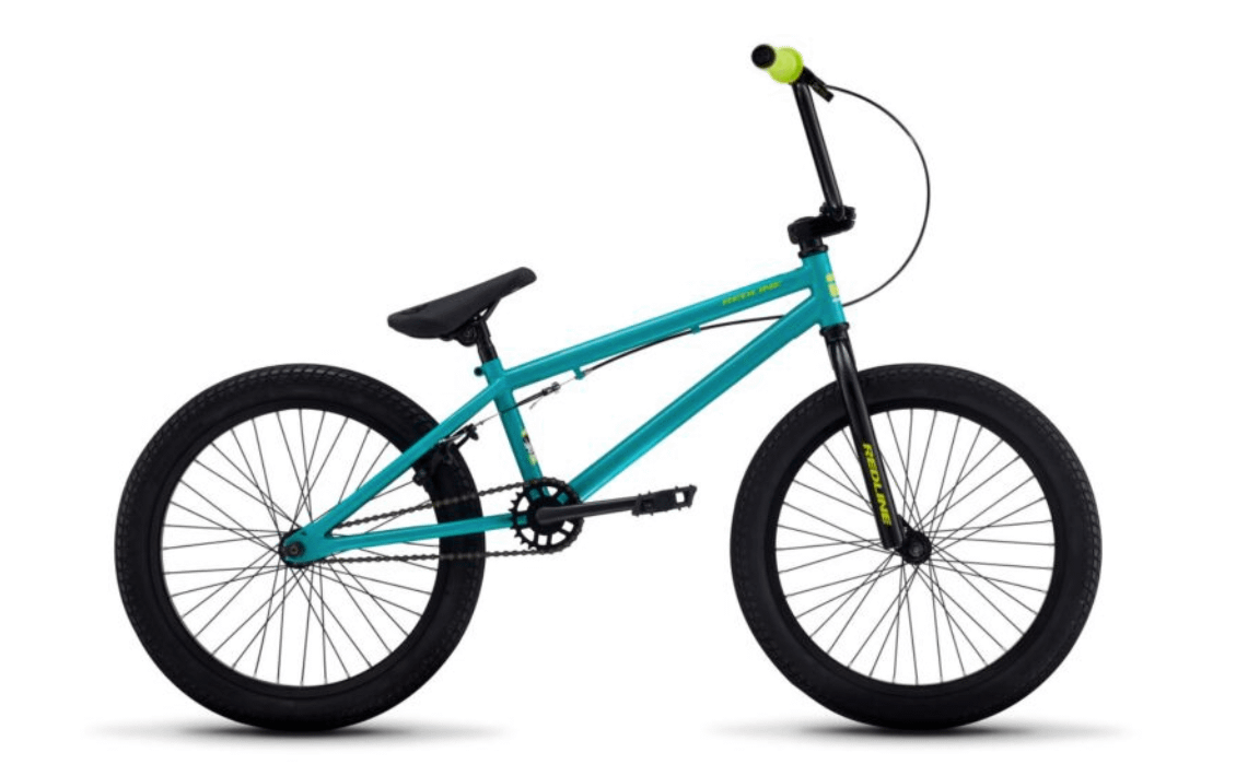 a teal redline rival kids bike with yellow writing