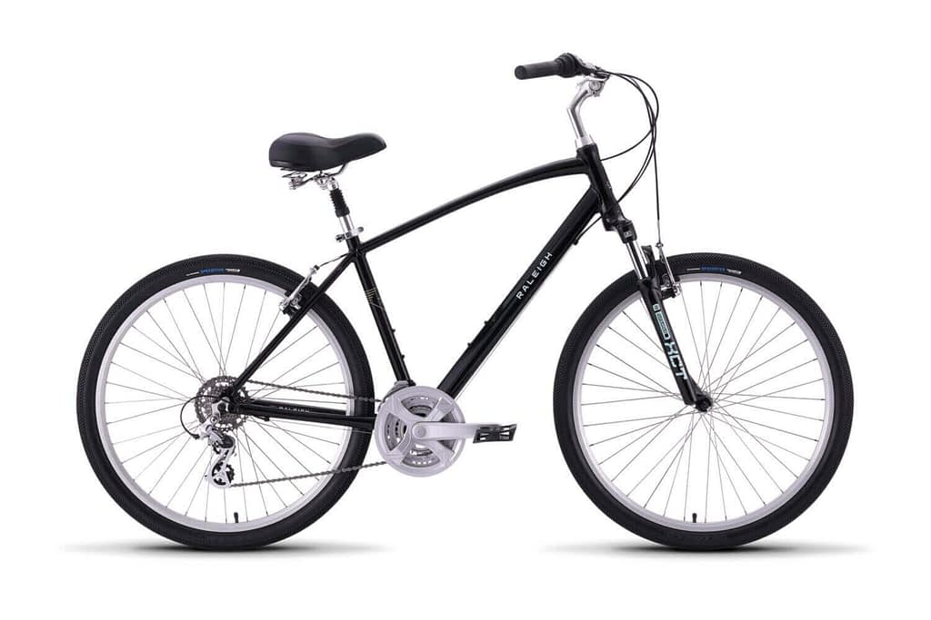 a black raleigh venture 2 bicycle