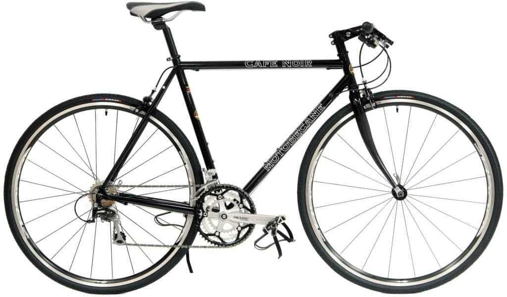 """a black hybrid bicycle with the phrase """"cafe noir"""" written on it in white letters."""