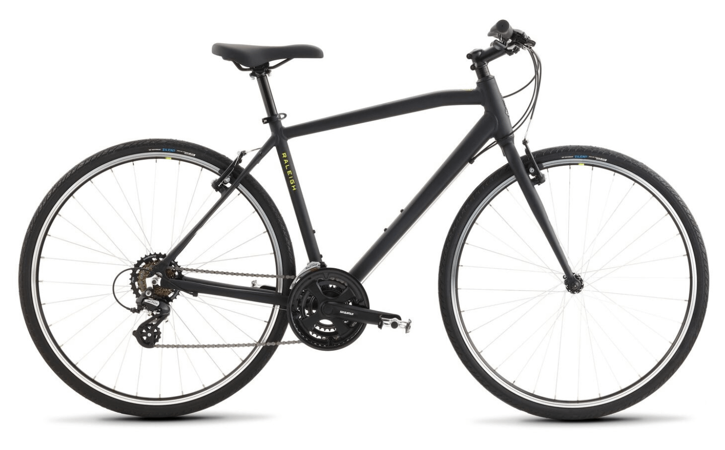 a black raleigh cadent bicycle with yellow writing
