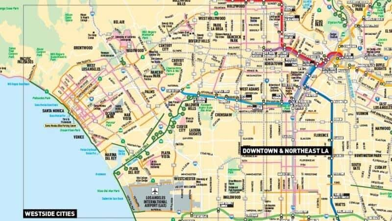 a yellow map of the city and subways of los angeles