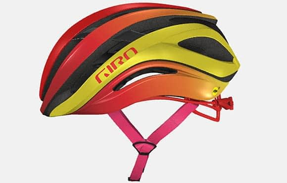 "a red, orange, yellow, and pink bicycle helmet with the word ""giro"" written on it in red letters."