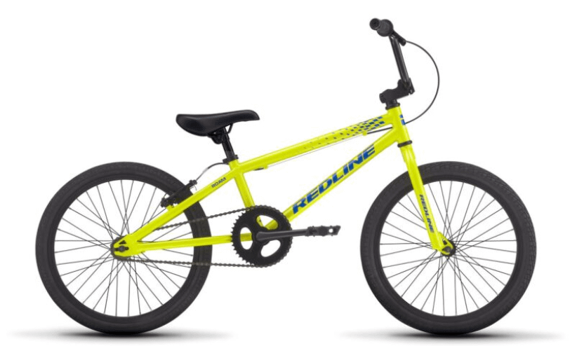 a yellow redline roam bicycle with blue writing