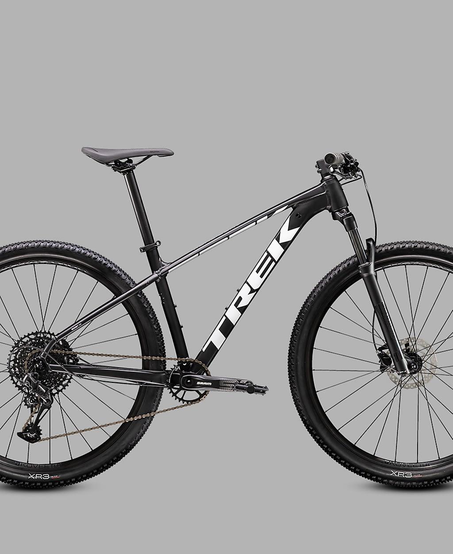 a black and white hardtail mountain bike