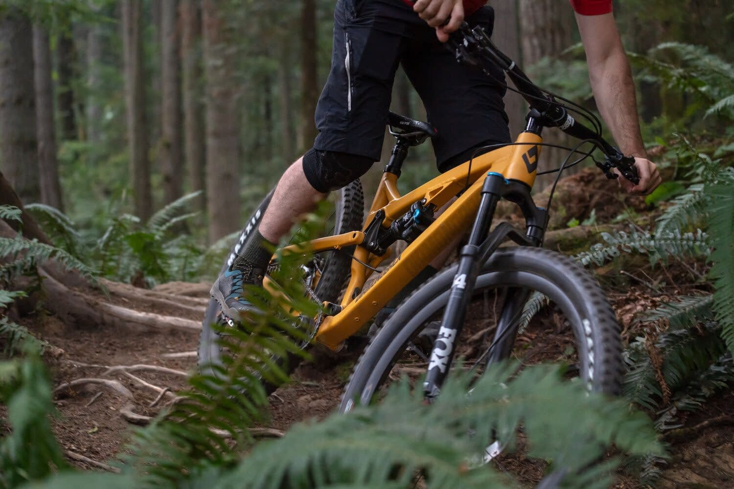 the legs of a biker in black shorts on a yellow mountain bike in a forest
