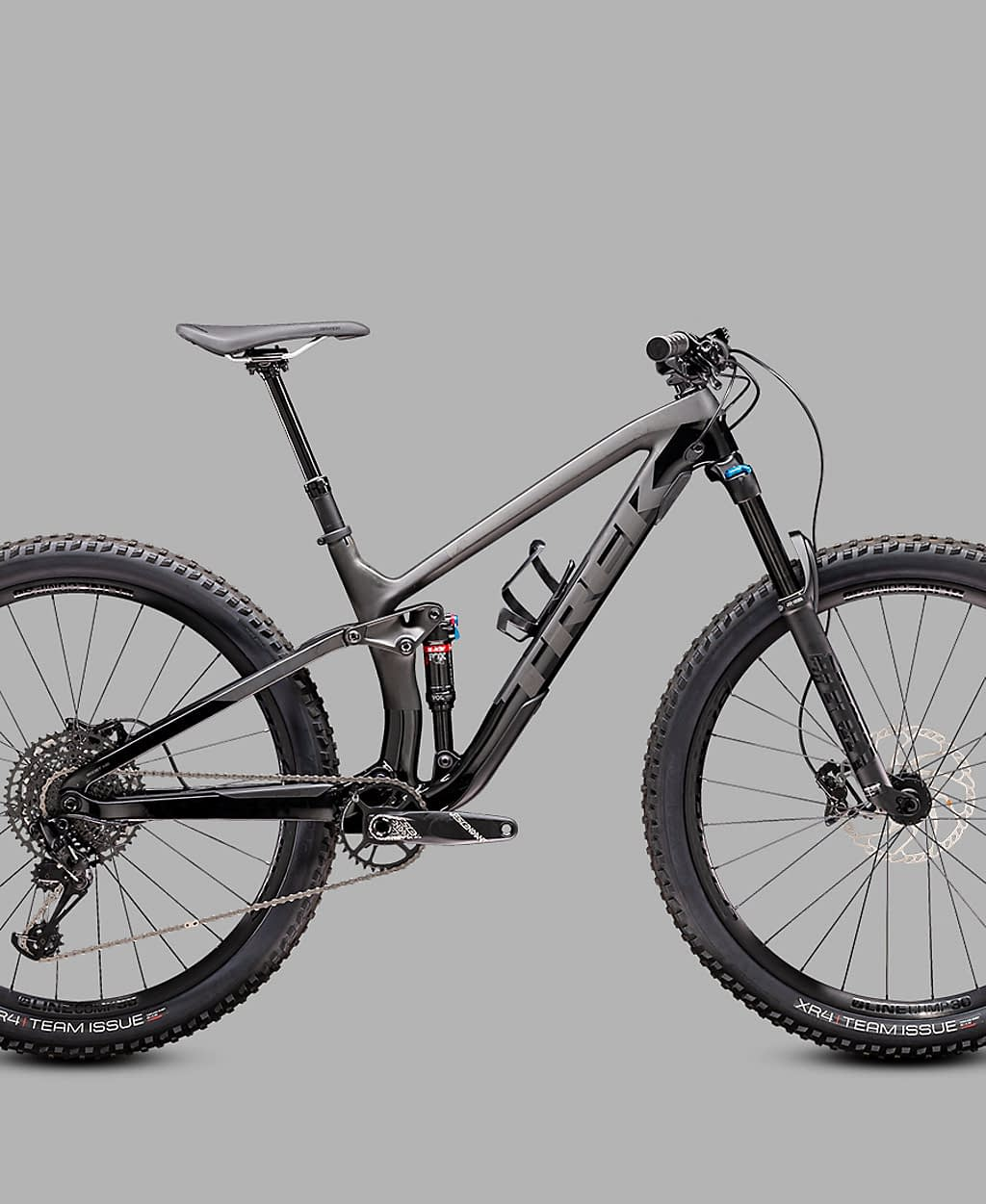 a black and grey full suspension bicycle