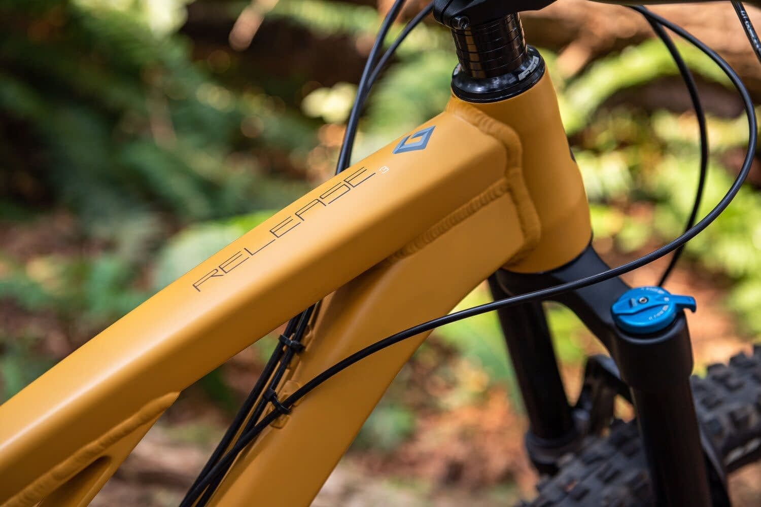 a close up of a yellow mountain bicycle