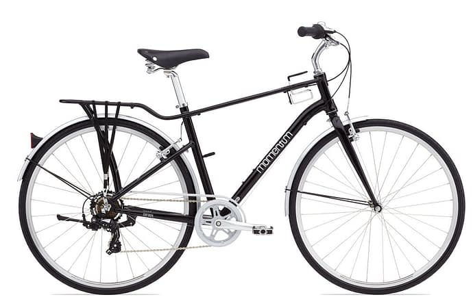 a black momentum bicycle with white trim