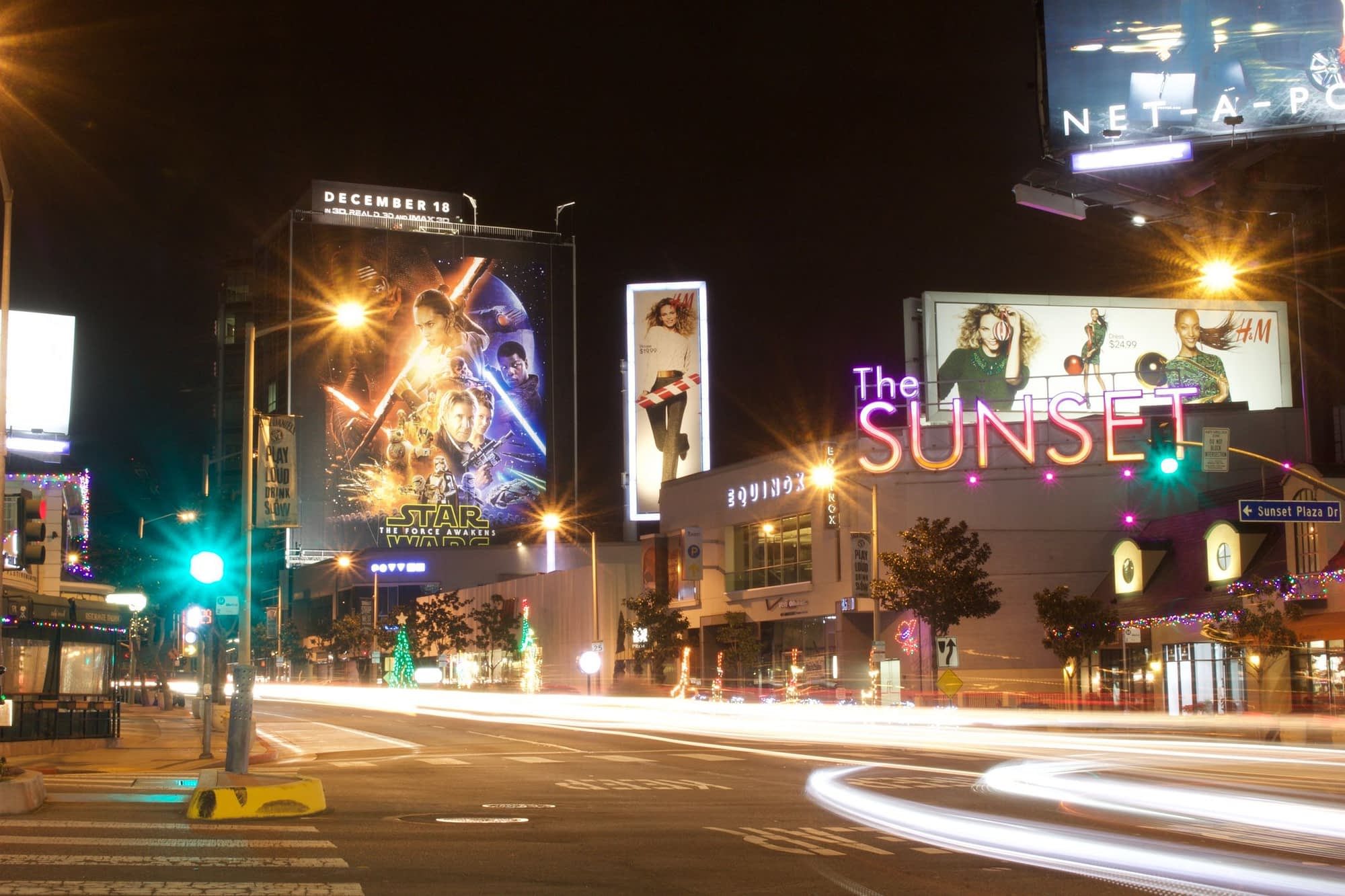 the sunset strip at nighttime