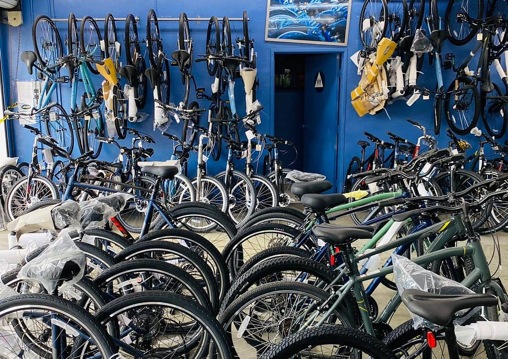 a group of bikes in a store