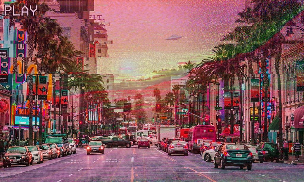hollywood boulevard and palm trees at sunset